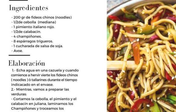 """Receta """"noodles con verduras"""" para 2 personas"""
